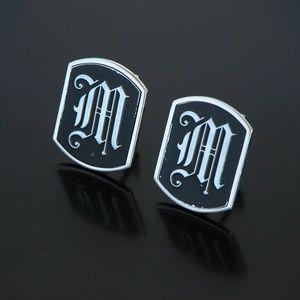 Vtg Modern Swank Cufflinks Silver Tone Initial M
